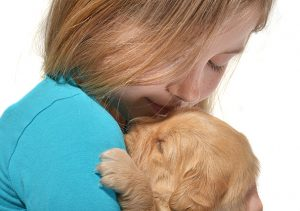 soigner chien par enfants